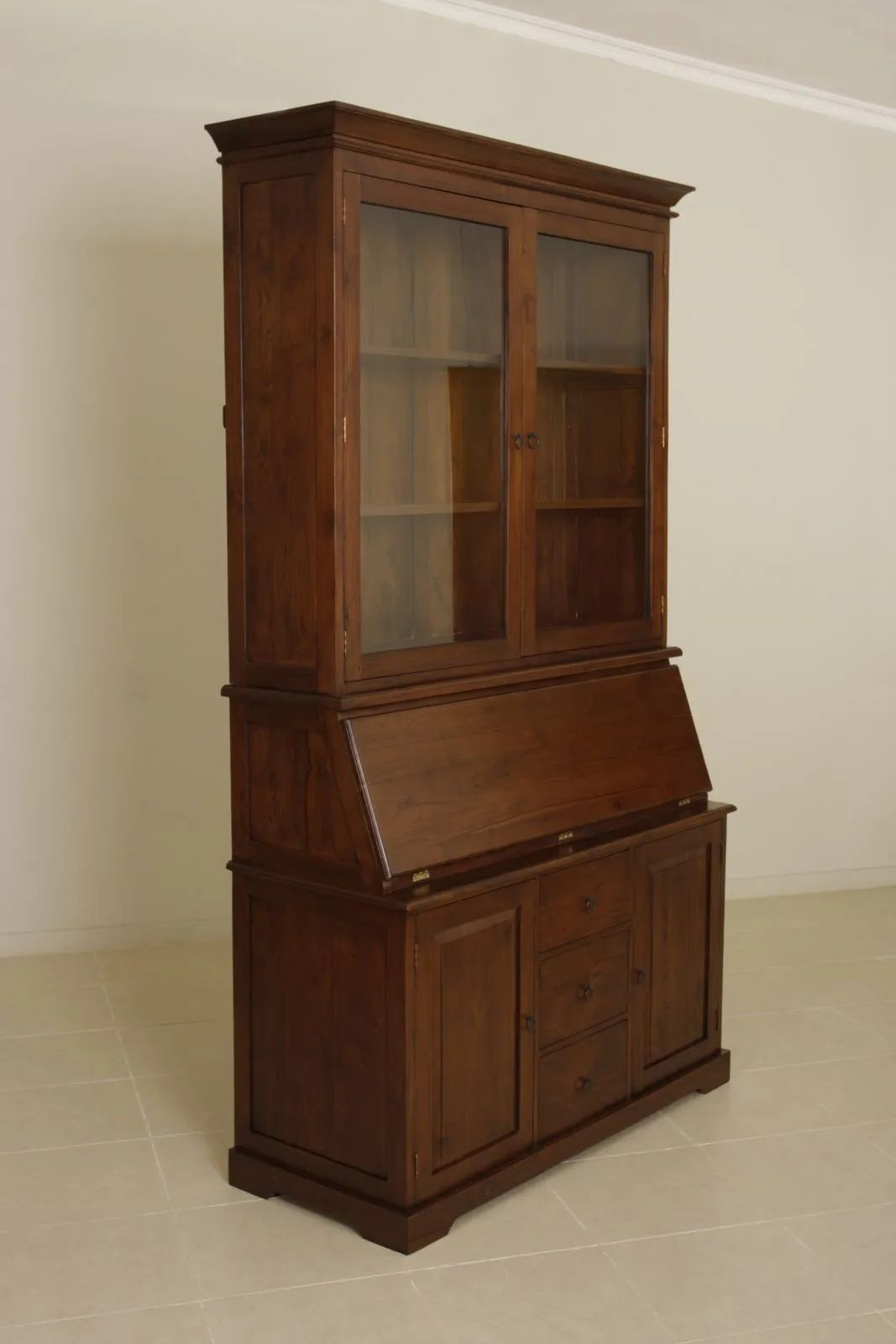 Flip down top desk with glass doors hutch made of Mindi wood