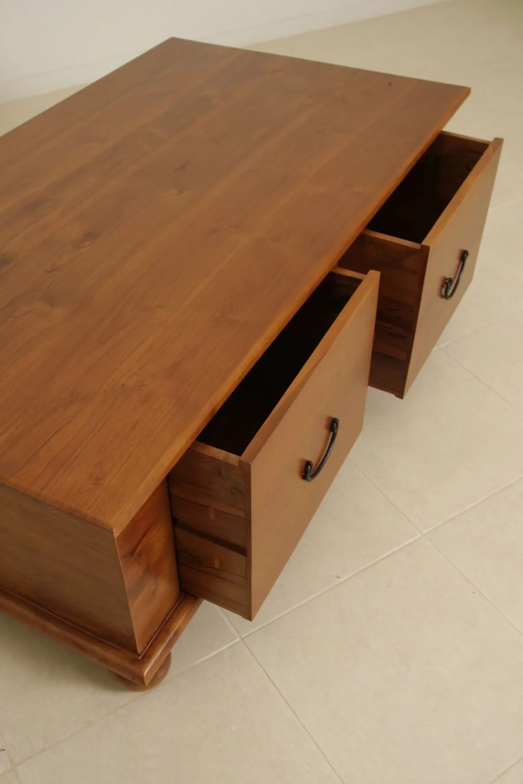 The drawers of Bun feet coffee table pulled out