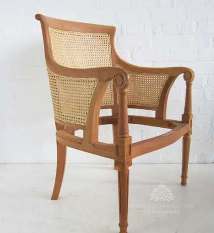 Mahogany wood frames and unfinished rattan wicker