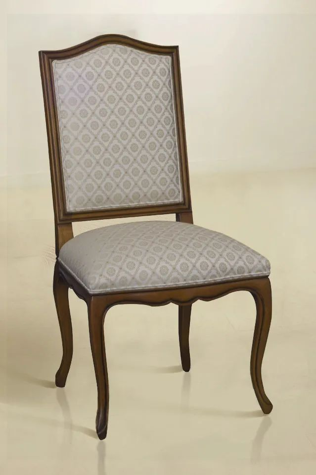 Louis XV Dining armchair mahogany wood frame flower pattern fabric seat and backrest upholstery