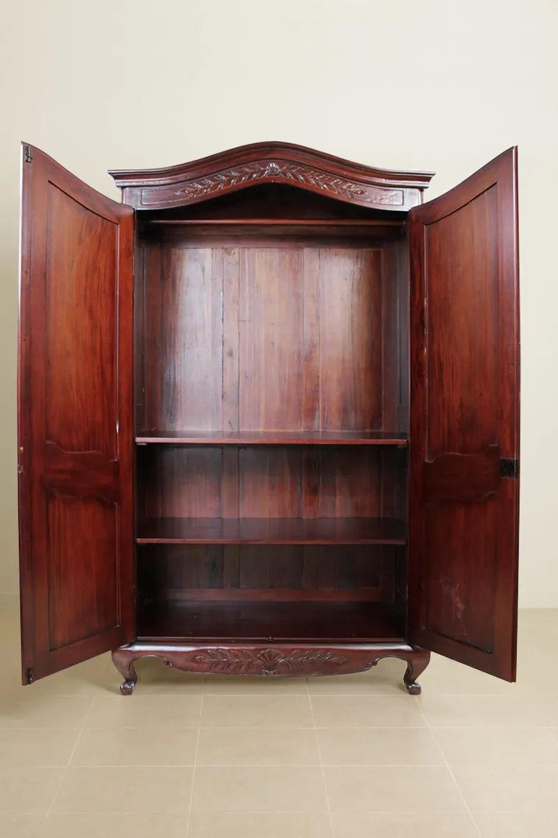 Compartment detailed view of the French classic bonnet top armoire