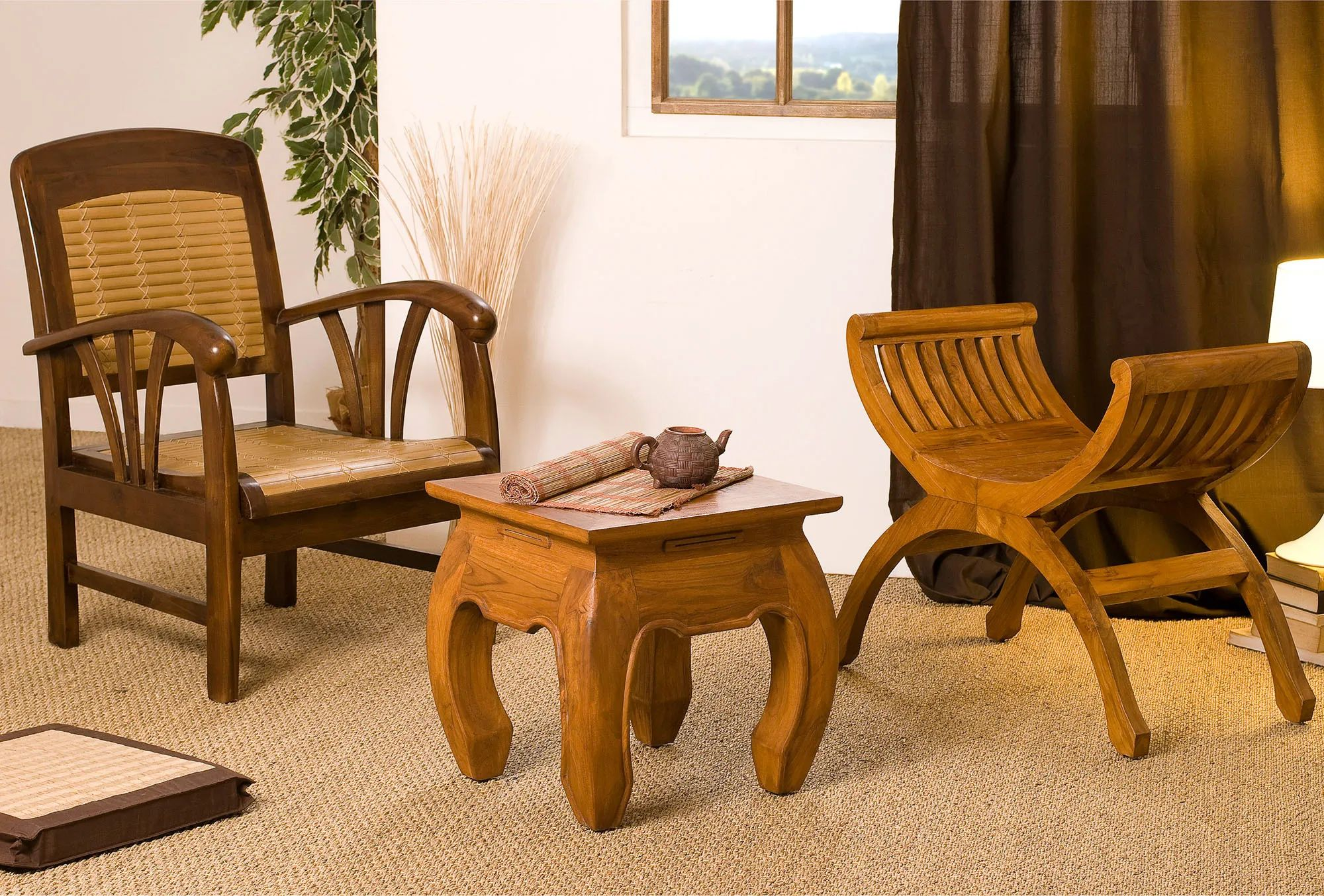 Traditional Javanese chair and opium small side table