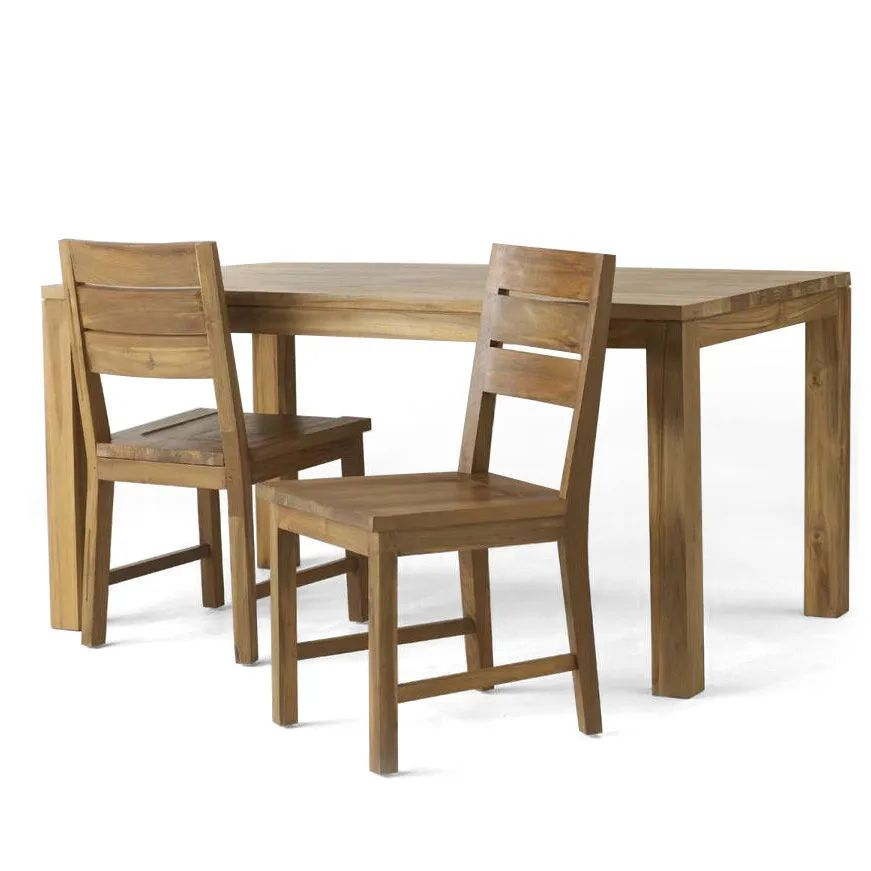 Reclaimed teak plain dining table and dining chairs