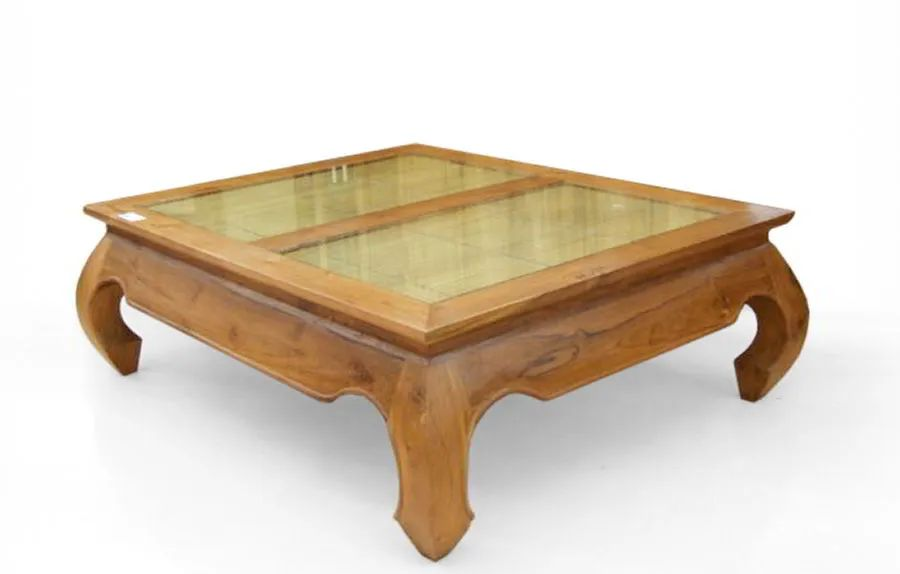 Opium coffee table glass and bamboo top split