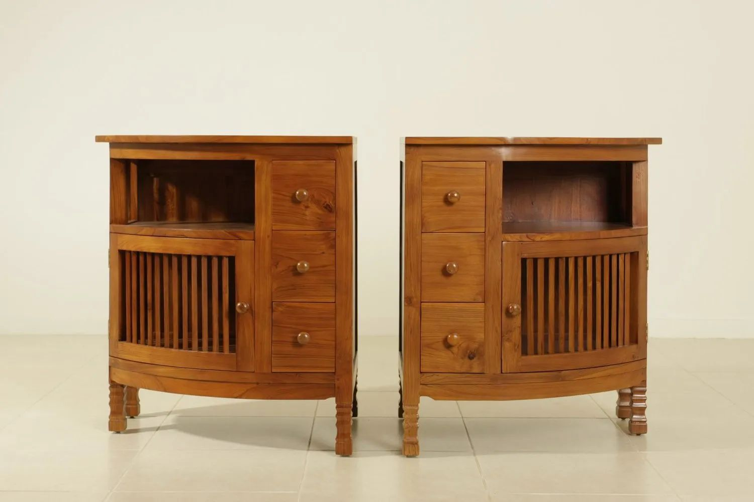 Trellis corner buffets left and right drawers