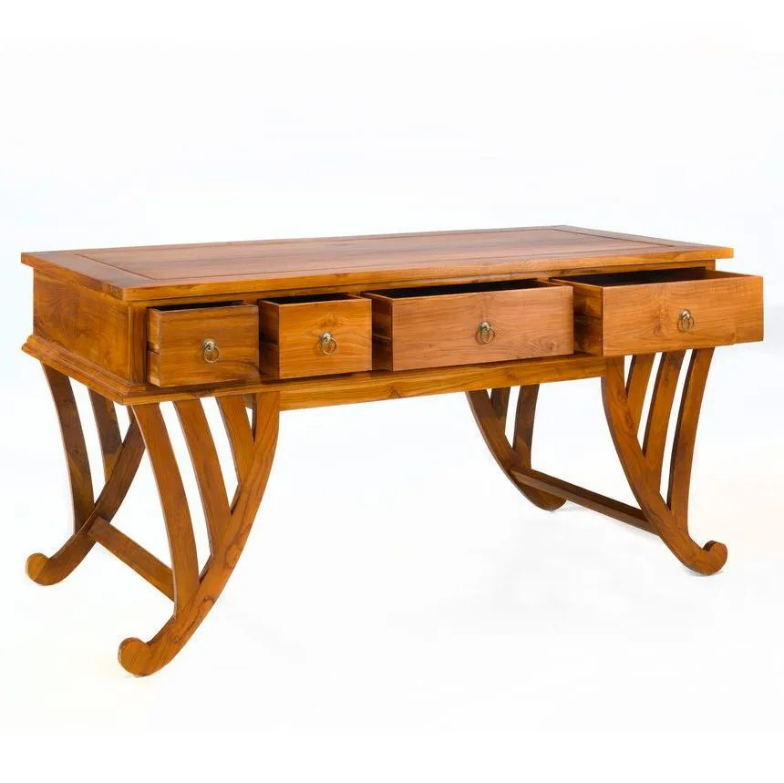 Curved legs Teak wood desk 4 drawers pulled out